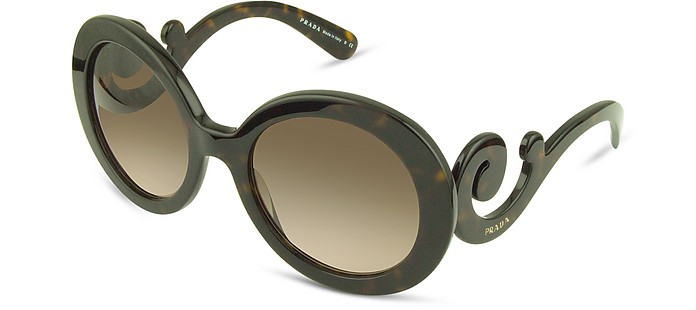 Swirled Temple Large Frame Sunglasses - Prada