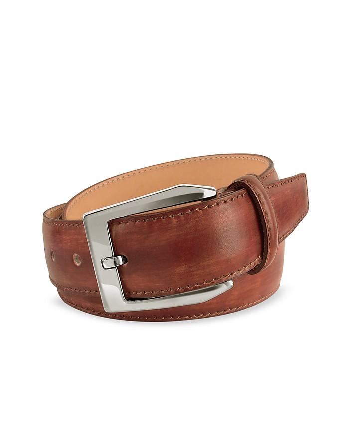Cintura in Pelle Marrone Tinta a Mano Pakerson cm 115-130 I5PJC3kCg