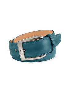 Men's Petrol Blue Hand Painted Italian Leather Belt - Pakerson