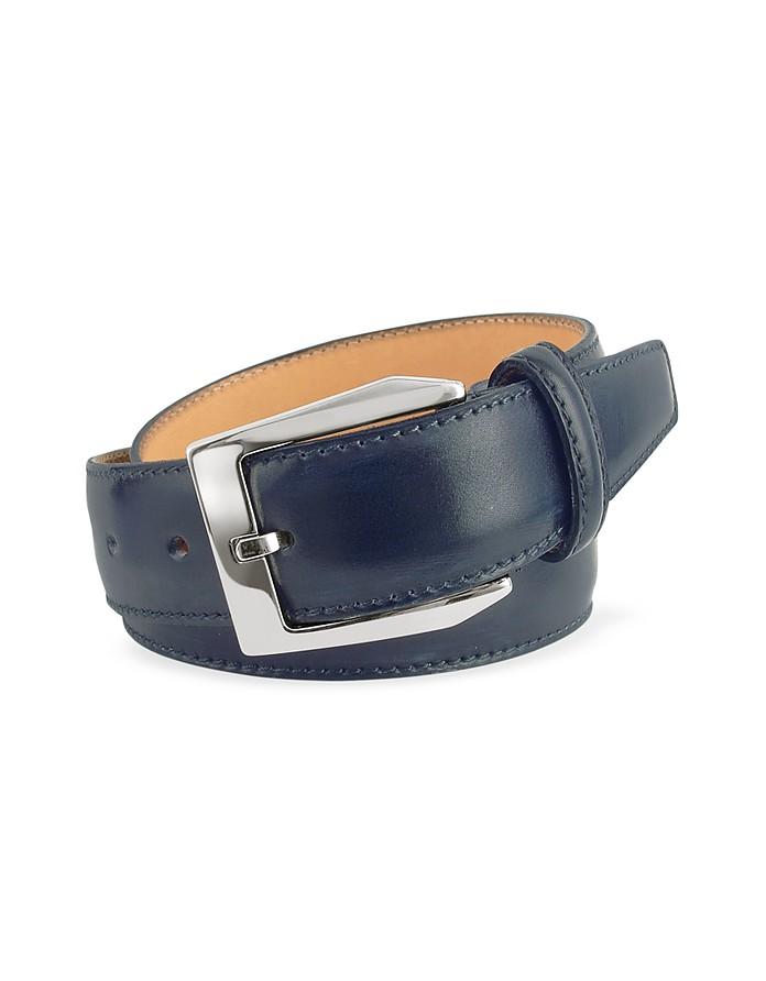 Cintura in Pelle Blu Tinta a Mano Pakerson cm 115-130 Mh0M2p