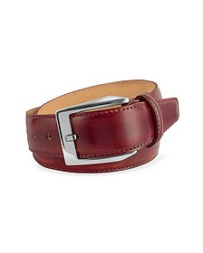 Men's Wine Red Hand Painted Italian Leather Belt - Pakerson