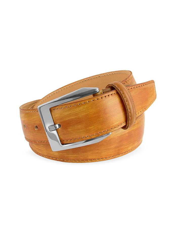 Cintura in Pelle Ocra Tinta a Mano Pakerson cm 115-130 BVQd7