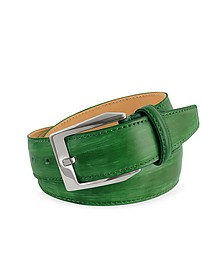 Men's Green Hand Painted Italian Leather Belt - Pakerson