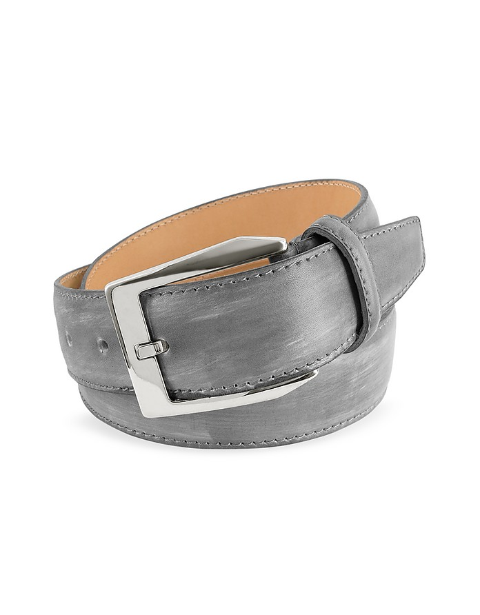 Men's Gray Hand Painted Italian Leather Belt - Pakerson