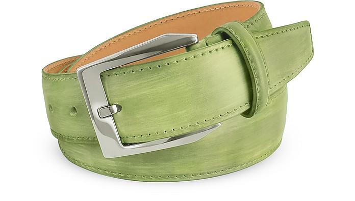 Cintura uomo in pelle verde pistacchio dipinta a mano Pakerson cm 115-130 7JMFRE6uiN