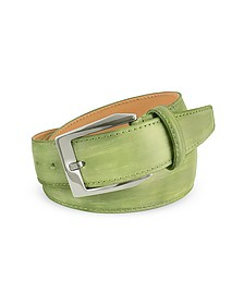 Men's Pistachio Green Hand Painted Italian Leather Belt  - Pakerson