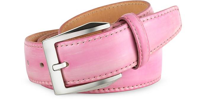 Розовый кожаный ремень ремень мужской с ковбойской бляхой