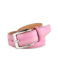 Men's Pink Hand Painted Italian Leather Belt  - Pakerson