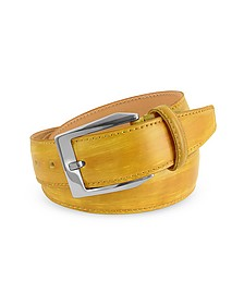 Men's Yellow Hand Painted Italian Leather Belt  - Pakerson