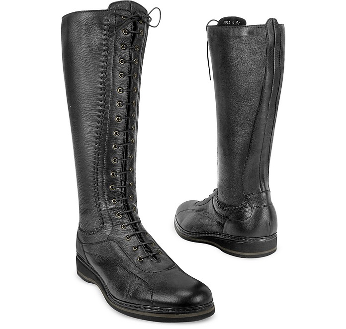 Women's Black Soft Italian Leather Thermal Lace-up Boots - Pakerson