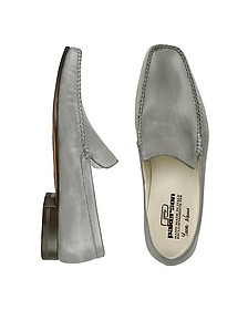 Gray Italian Handmade Leather Loafer Shoes - Pakerson