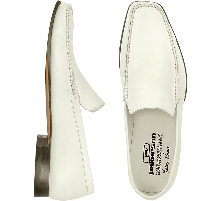 White Italian Handmade Leather Loafer Shoes - Pakerson