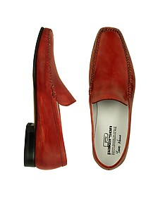 Red Italian Handmade Leather Loafer Shoes - Pakerson