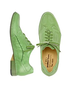 Pistachio Green Italian Handmade Leather Lace-up Shoes - Pakerson