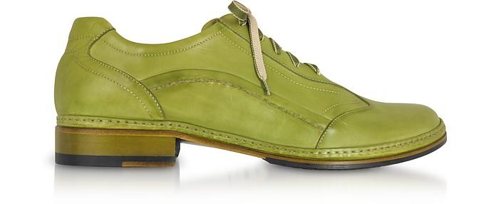 timeless design eb99a 2afbf Scarpe stringate uomo in pelle verde pistacchio fatte a mano