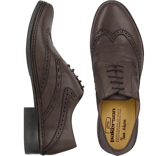 Dark Brown Handmade Italian Leather Wingtip Oxford Shoes - Pakerson