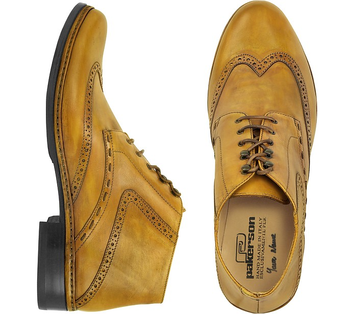 Ocher Handmade Italian Leather Wingtip Ankle Boots - Pakerson