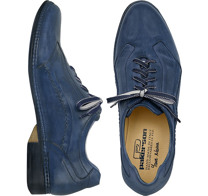 Blue Italian Handmade Leather Lace-up Shoes - Pakerson