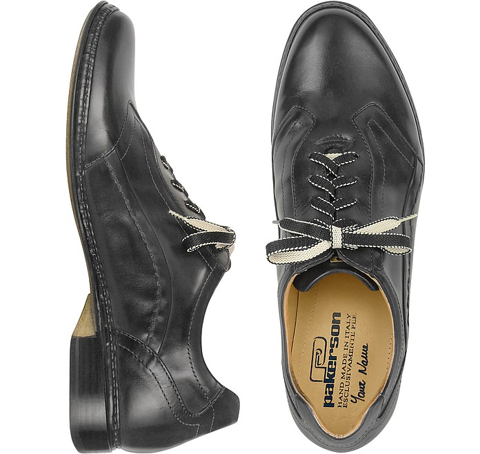 Pakerson Designer Shoes, Dark Italian Handmade Leather Lace-up Shoes