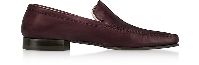 Burgundy Italian Handmade Leather Men's Loafer Shoes - Pakerson