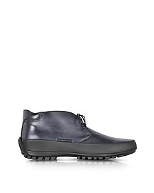Smoke Blue Leather Ankle Boot w/Rubber Sole - Pakerson