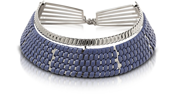 Brass w/Navy Blue Woven Leather Choker in Fumoso - Pluma