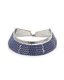 Brass w/Navy Blue Woven Leather Choker in Fumoso - Pluma