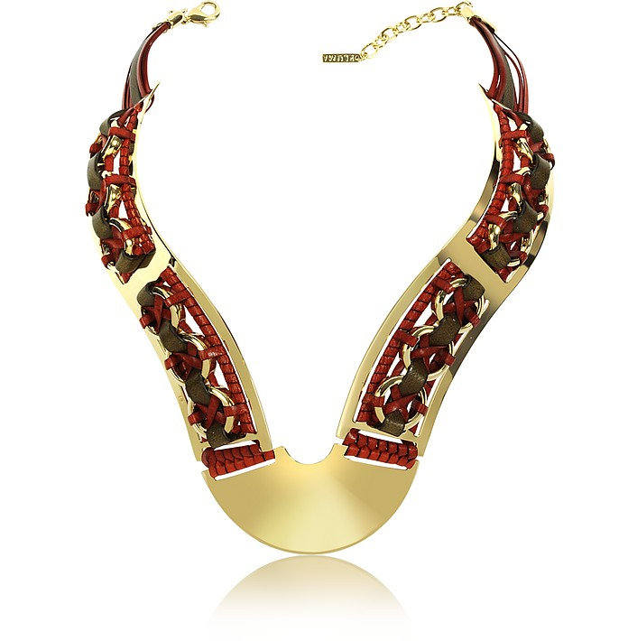 Brass Woven Leather Necklace in Gold, Burgundy and Brown - Pluma