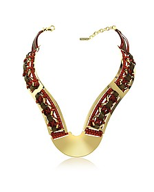 Brass Woven Leather Necklace in Gold, Burgundy and Brown