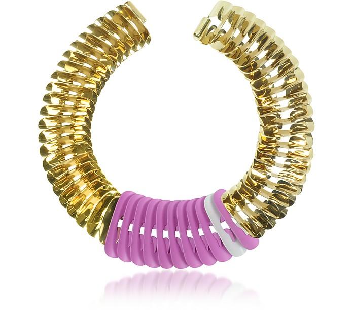 Fishbone Halskette aus vergoldetem Metall in rosa und weiß - Pluma