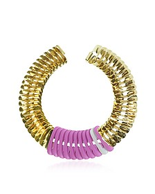 Gold, Pink and White Fishbone Necklace - Pluma