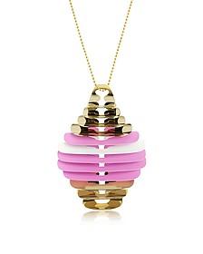 Gold, Pink and White Fishbone Pendant Necklace - Pluma