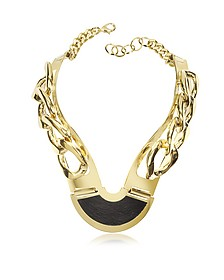 Gold Plated Brass and Black Leather Collar Chain Necklace - Pluma