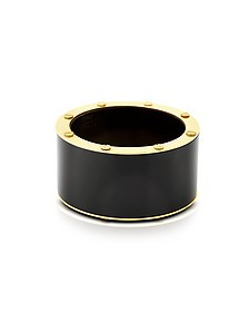 Black Resin and Brass Double Viti Large Bangle - Pluma