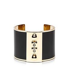 Golden Brass and Black Enamel Cuff - Pluma