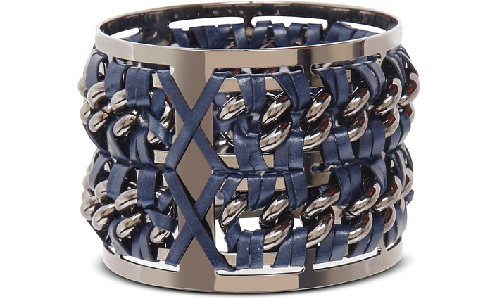 Gunmetal Brass and Navy Blue Leather Large Bangle in Fumoso - Pluma