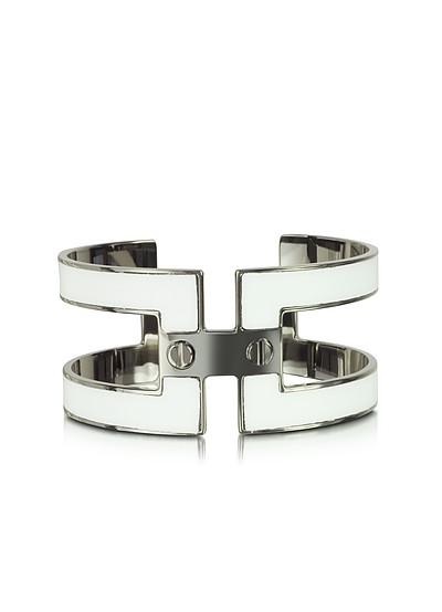White Brass Double Viti Small Cuff in Fumoso - Pluma
