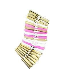 Gold, White and Pink Fishbone Bangle - Pluma