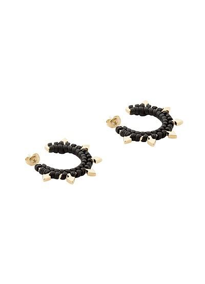 Brass and Woven Leather Mini Arrow Earrings - Pluma