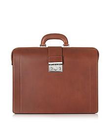 Medium Reddish Brown Leather Diplomatic Briefcase - Pineider