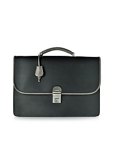 City Chic Gray and Black Fabric & Leather Briefcase - Pineider
