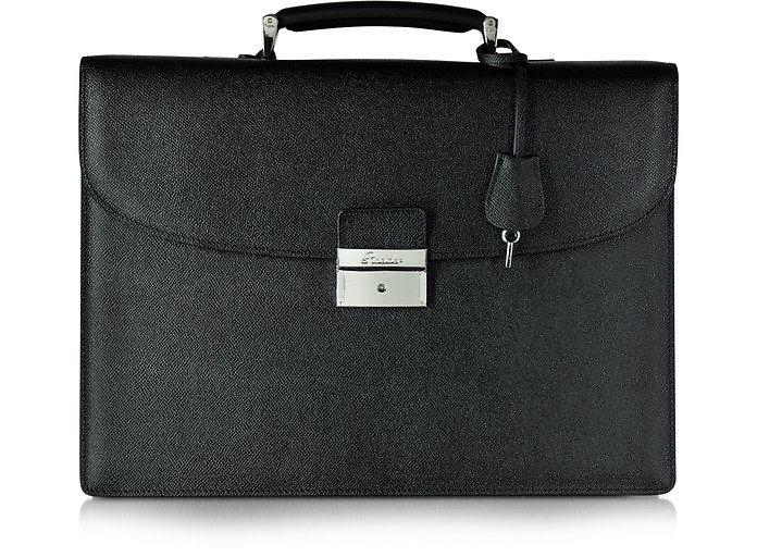 City Chic Black Leather Briefcase - Pineider