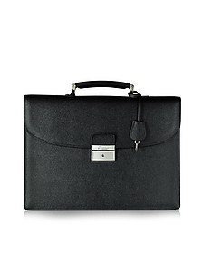City Chic Black Leather Briefcase - Pineider