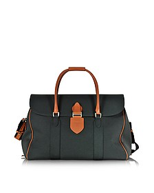 Country Dark Grey Fabric and Brown Leather Travel Bag - Pineider
