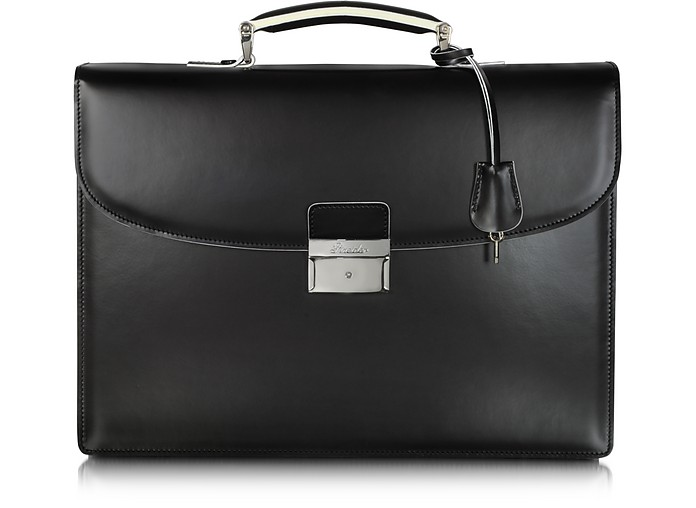 Optical Black and White Leather Briefcase - Pineider
