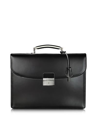 Aktentasche aus Leder in schwarz und weiß - Pineider