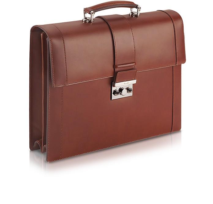 Power Elegance - 棕色双角撑板皮革公文包 - Pineider 彼耐德