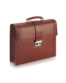 Power Elegance - Brown Double Gusset Leather Briefcase - Pineider