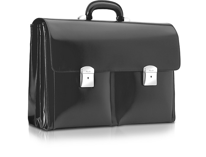 1949 - Black Calfskin Triple Gusset Briefcase - Pineider