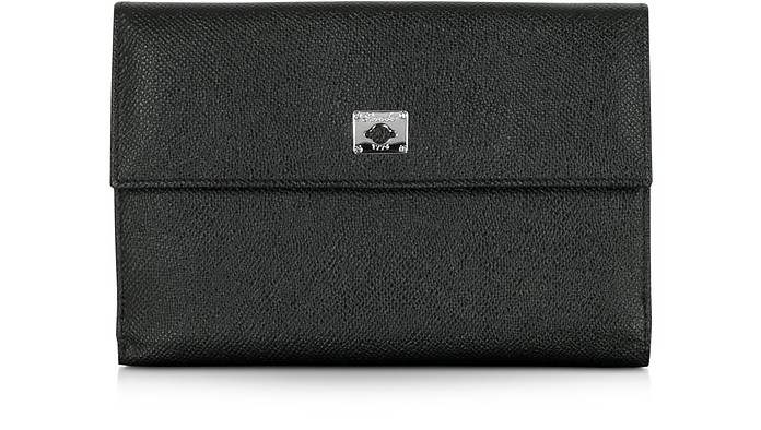 PINEIDER CITY CHIC BLACK LEATHER FRENCH PURSE WALLET